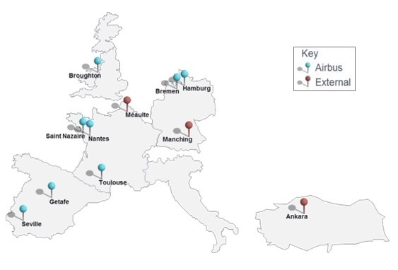 European Airbus Sites map