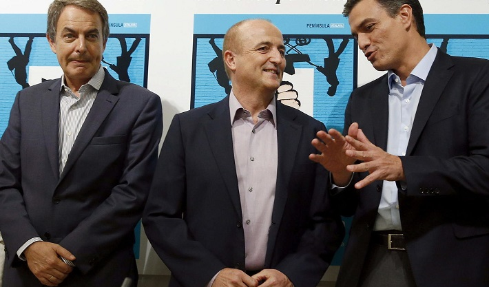 From left to right José Luis Rodríguez Zapatero, Miguel Sebastián, and Pedro Sánchez who is the current Prime Minister of Spain. - Energíapost.