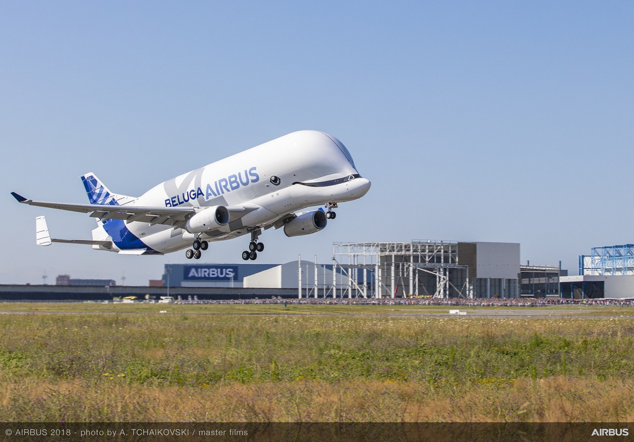 BelugaXL First Flight take-off Airbus