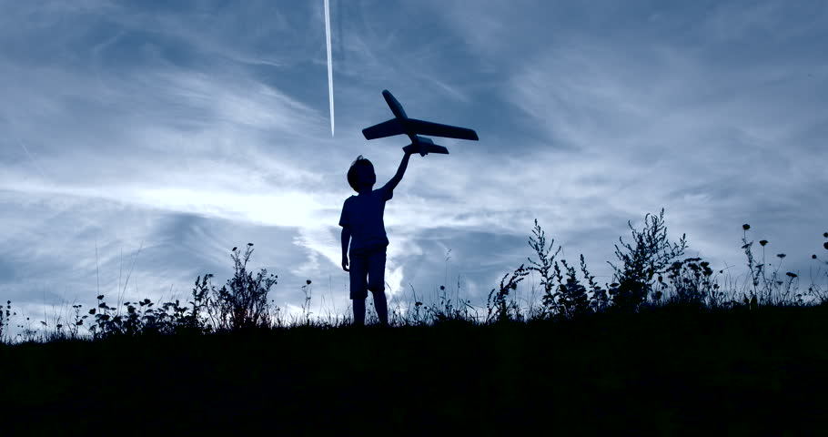 Child playing airplane