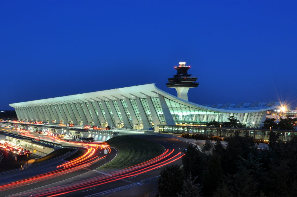 Washington Dulles International Airport terminal building control tower.