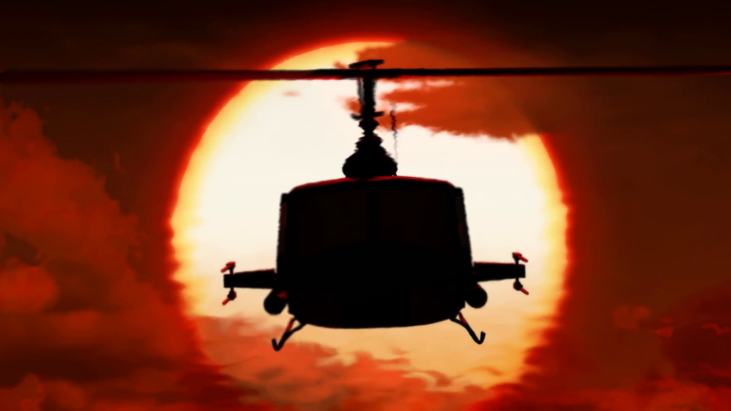 Helicopter sun background