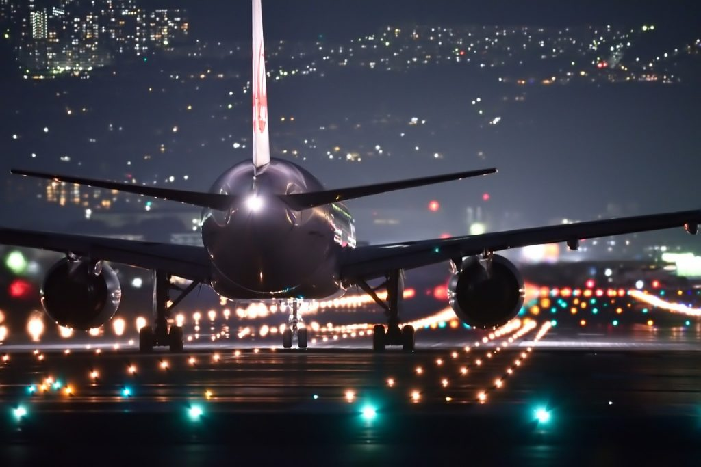 Aircraft ready to take-off night