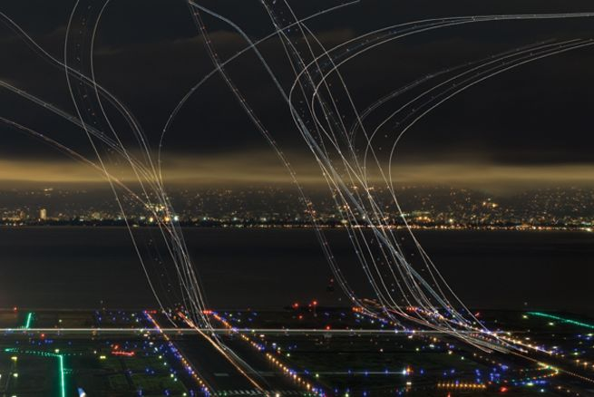 Take-off trails runways airport night